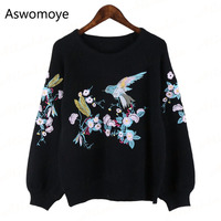 2018 High Quality Spring New Fashion Women's Embroidery O neck Long Puff Sleeve Knitted Sweater Brand Pullovers Knittingwear