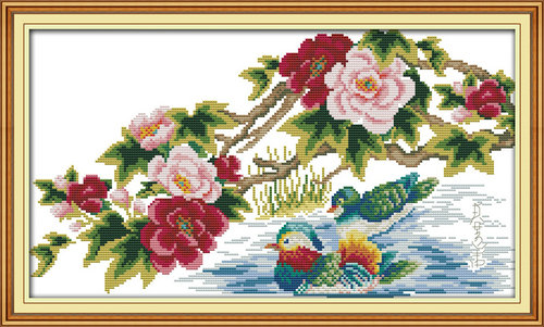 Mandarin ducks (4) paintings counted or stamped DMC 11CT 14CT kits Cross Stitch embroide ...