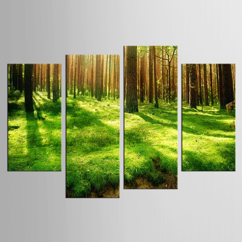 4 pieces / set Canvas Print Forest Sunrise In The Spring Wall Picture Home Decor For Living Room Modern Wall Art Decorations