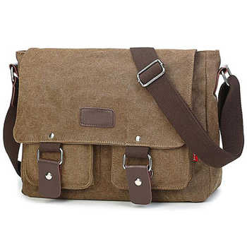 Men\'s Vintage Canvas Bag Men Casual Crossbody Bag For Men Messenger Bag Man Travel Shoulder Bags Bolsa Masculina High Quality - DISCOUNT ITEM  50 OFF All Category