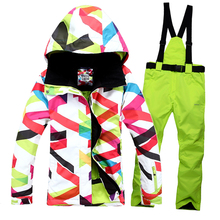 Free shipping Outdoor waterproof windrpoof set skiing jacket and pants High quality women's winter ski set snowboard suit women