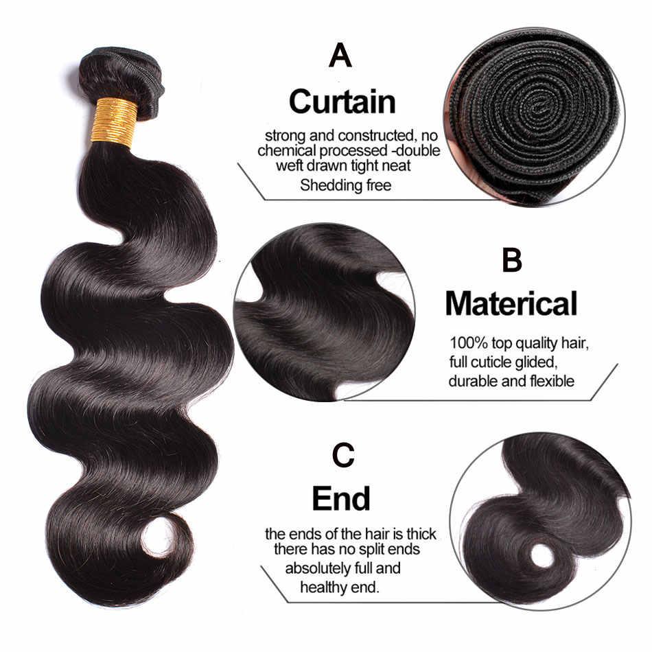 Бразильский объемная волна пучки волос плетение 100% натуральные волосы расслоения натуральный черный # Gem Красота не Волосы remy расширения 1/3/4 шт.