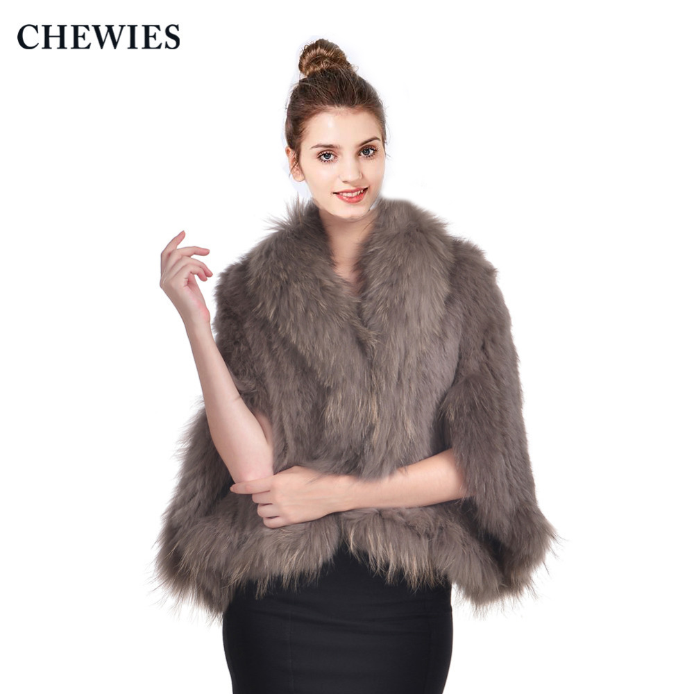 CHEWIES  Real Rabbit Fur Poncho For Women Fashion Natural Knitted Rabbit Fur Shawl With Raccoon Fur Collar 2018 New Arrival 2.24