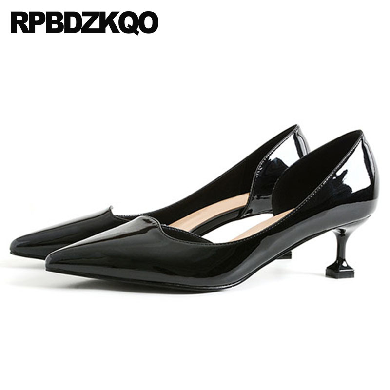 Suede Fashion Pink Wedding Shoes Ladies Pointed Toe D'orsay Patent Leather Black Kitten 2018 Medium Heels Size 4 34 33 Nude ladies wicking antimicrobial jersey black medium