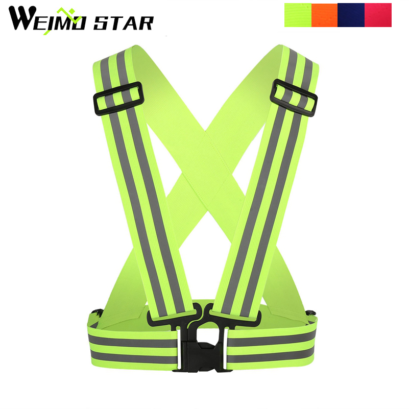 Weimostar Outdoor Sports 4cm Reflective Cycing Vest Lightweight Adjustable Elastic High Visibility Safety Vest Strap Gear