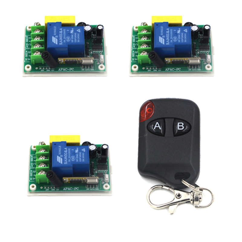 220V 30A 1CH RF Wireless Remote Control Power Switch 3 Receiver with 2-Button ON/OFF Transmitters 4075 ac220v rf wireless remote control switch mini 1ch 1 ch relay receiver switch rf on off 4 receivers with 4 transmitters