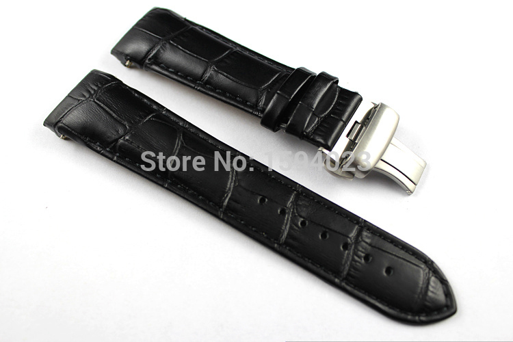 23mm (Buckle 20mm) T035617A High Quality Silver Butterfly Buckle + T035439 Black Genuine Leather curved end Watchband belts man