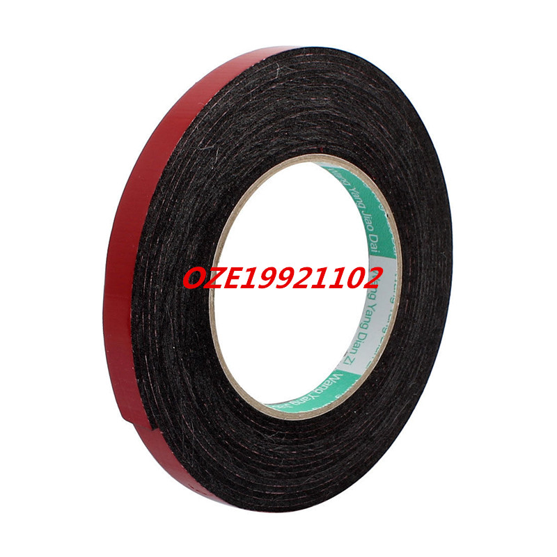12mm x 2mm Car Vehicle Self Adhesive Shock Resistant Foam Tape 10M Length 25mm x 1mm white double sided self adhesive sponge foam tape for car 10m length