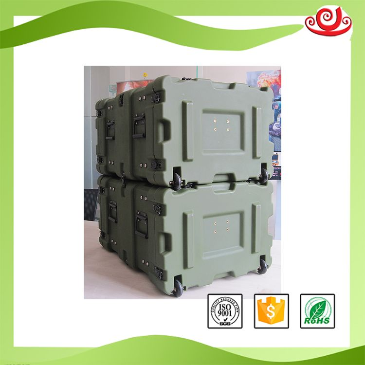 Tricases Shanghai Factory IP65 Waterproof Shockproof Rotational Mould 11U Military Standard Rack Case RU110