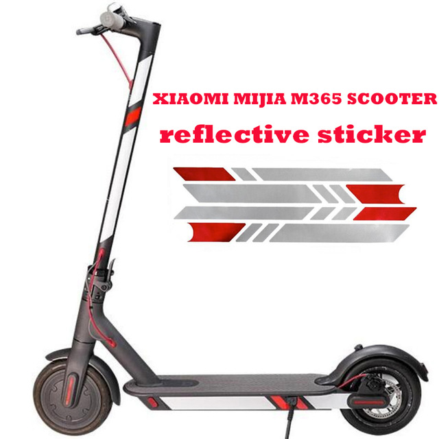 Pegatinas reflectantes para Xiaomi Mijia M365 Scooter eléctrico Reflect Light Tags Paster Calcomanías Advertencia de seguridad nocturna Reflector de tira