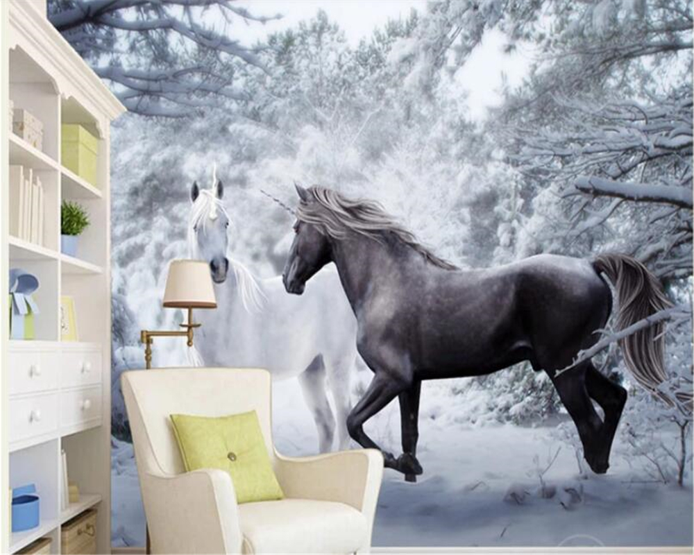 Mouse Over To Zoom In Beibehang Papel De Parede Magnificent Horse Snow Black And White Art Background Wallpaper Hudas Beauty