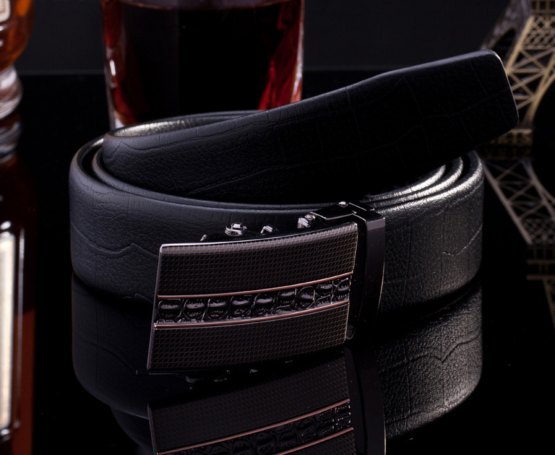 Lucidity Fashion Men Belt Leather PU Business Automatic Men Belt Brand Casual All-Match Luxury Designer Belts Men