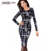 Autumn Women Office Pencil Midi Dress Ladies Long Sleeve Print Bodycon Knee Length Tunic Elegant Slim