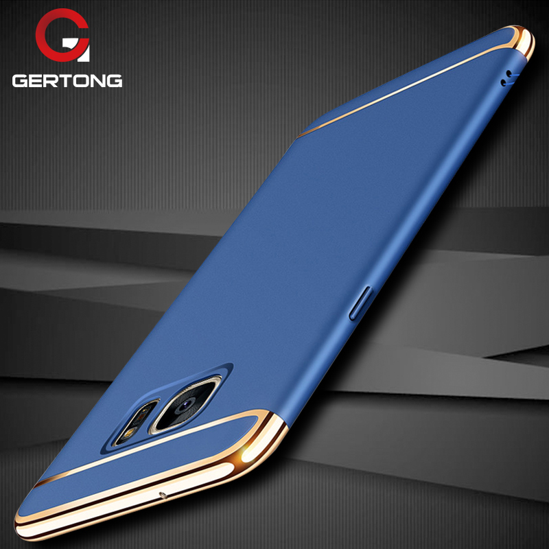 GerTong Luxury Plating Case For Samsung Galaxy A5 A7 2017 J5 J7 2016 S7 Edge Phone Cover Hard PC Plastic Protective Case Coque