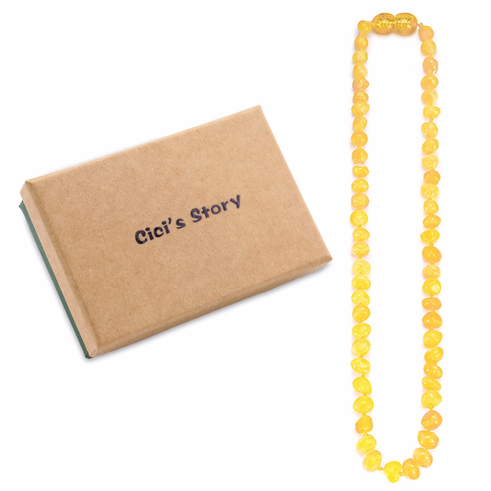 Amber Teething Necklace for Baby(Butterscotch) - 3 Sizes - Natural Stone Diy Beads Neckl ...