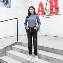 Jeans style in spring 2019 Loose CEC Women's straight pants High waist slim Hallen