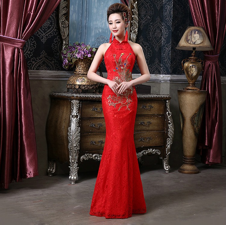 Shanghai Story Bridesmaid dresses Vintage halter mermaid qipao ...