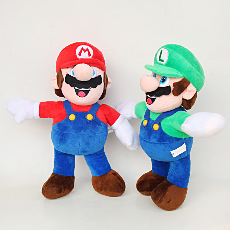 2pcs/lot 30cm Super Mario Bros Stand Mario & Luigi Plush Toys Doll Soft Stuffed Toys Gifts for Children Kids