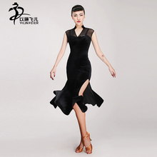 New sexy Competition fringe flower Latin dance dress retro salsa dress standard women tango performance dresses