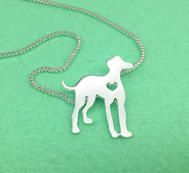 50cm greyhound silver pets metal dog heart pendants necklaces puppy cordate charms choker dogs animals women jewelry lover gift