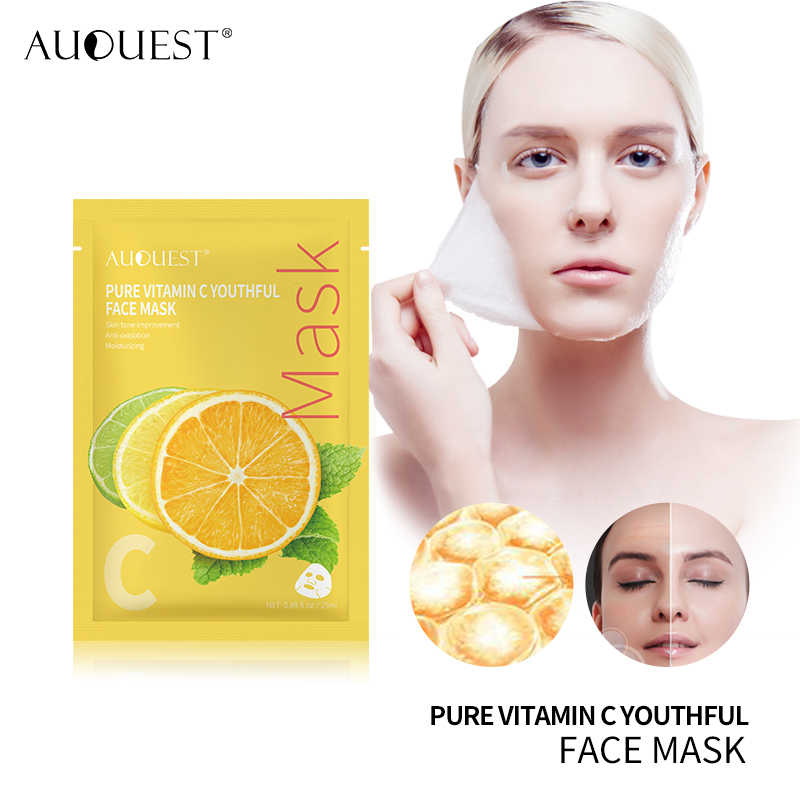 AuQuest Pure Natural Vitamin C Serum Face Mask Whitening Black Spot Detox Facial Mask Homemade Skin Care Sheet Mask For Face Facial mask