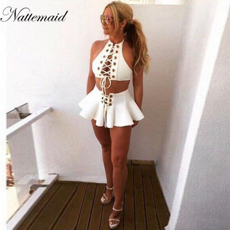 Buy NATTEMAID Women Sexy Halter Two Piece Mini Dress Hollow  Party Club Wear Bandage Sleeveless Dresses Women Summer beach dress