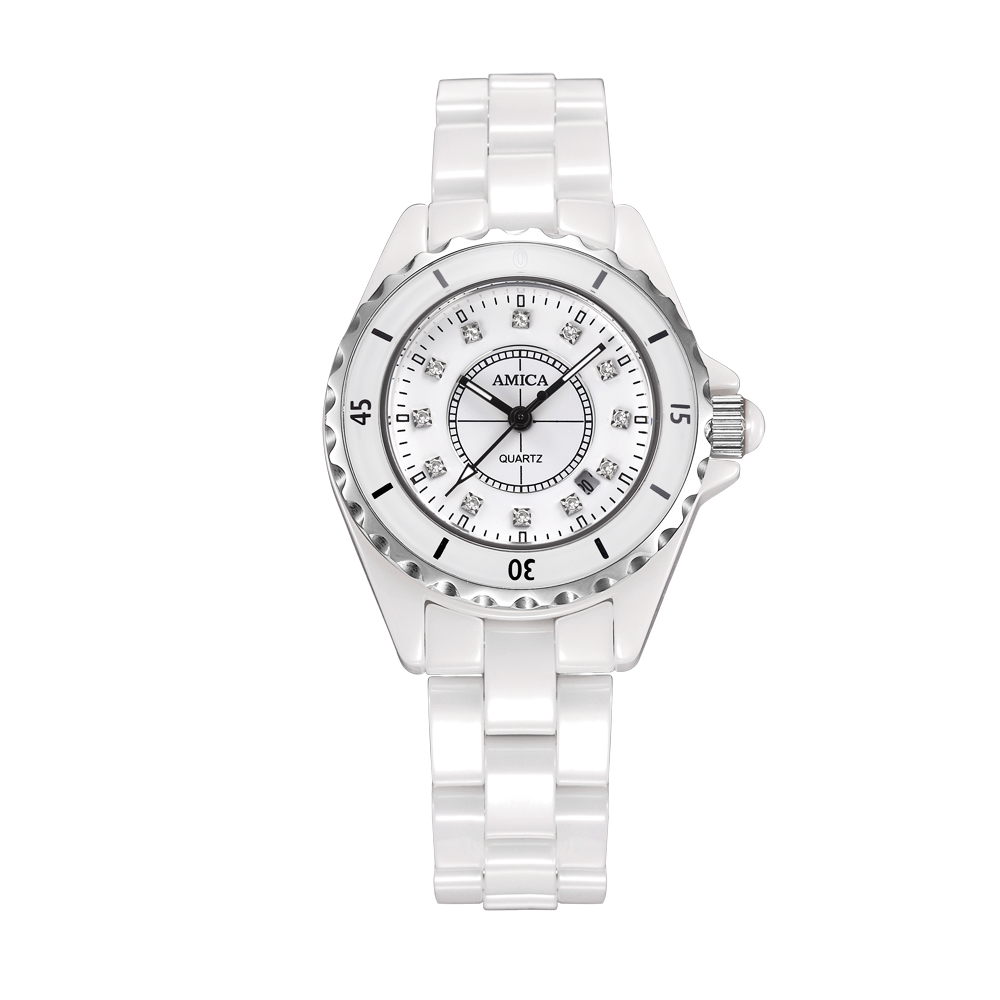 Amica Women's D-Ceramics Quartz Sapphire Silver Tone Stainless Steel Surface Crystal Ceramic Watchband Wrist Watches A5-14 часы amica