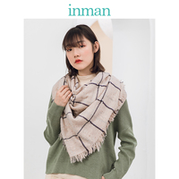 INMAN Autumn Winter Fashion Female Acrylic Fiber Wool Mixed Material 205cm Big Plaid Pattern Multi Color For Choose Lady Scarf