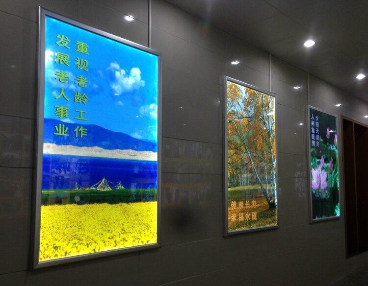 4 pcs/lot Silver Frame Ultra Thin Aluminum Snap Frame Led Light Box for Advertising(24x36)