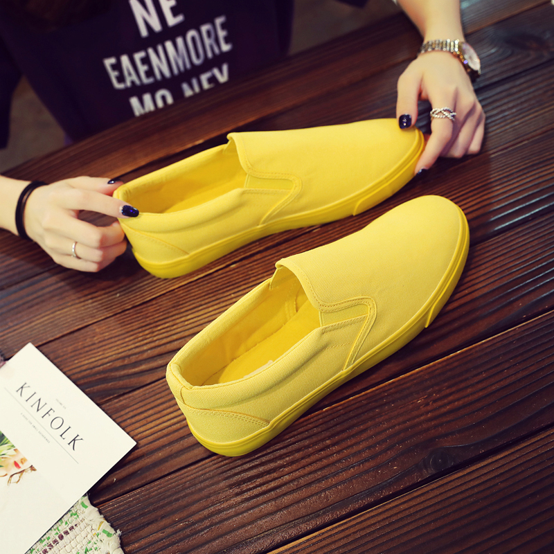 Image 5 - YEINSHAARS New Canvas Driving Shoes Men Green Black Yellow White Vulcanized Lazy Canvas Shoes Mens Designer Sneakers Fashion Men-in Men's Casual Shoes from Shoes