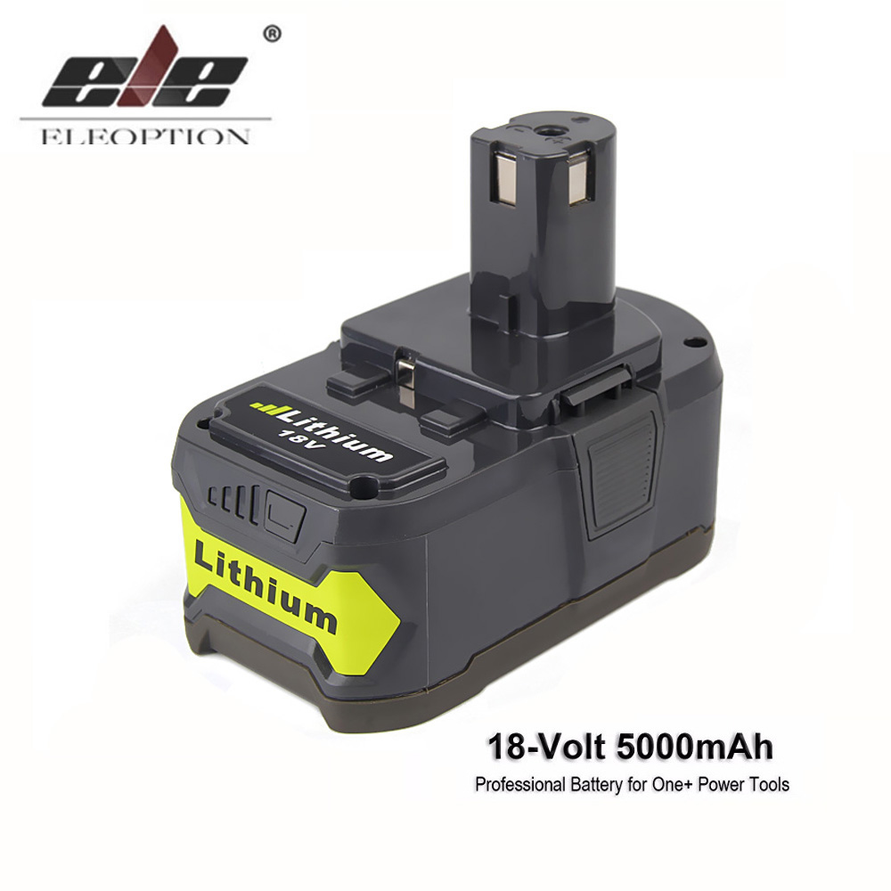 ELEOPTION Battery For Ryobi 18V Lithium Battery 5000mAh Li-Ion Rechargeable Battery For Ryobi P108 RB18L40 For ONE+ BIW180 лобзик ryobi one r18js 0