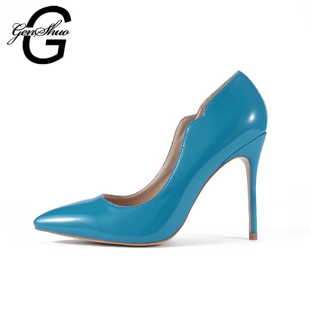 GENSHUO New Women's High Heels Pumps Sexy Party Heels Dark Sky Blue Pointed Toe Patent Leather High Heels Shoes for Office Lady facndinll new black patent genuine leather pointed toe rhinestone sexy high heels lace up women pumps ladies party casual shoes