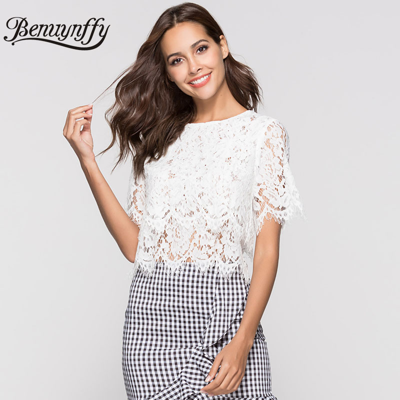 3a1b9bfaf28 Benuynffy Hollow out White Lace Blouse Women Summer Top 2018 Ladies Elegant  Sexy Black Round Neck