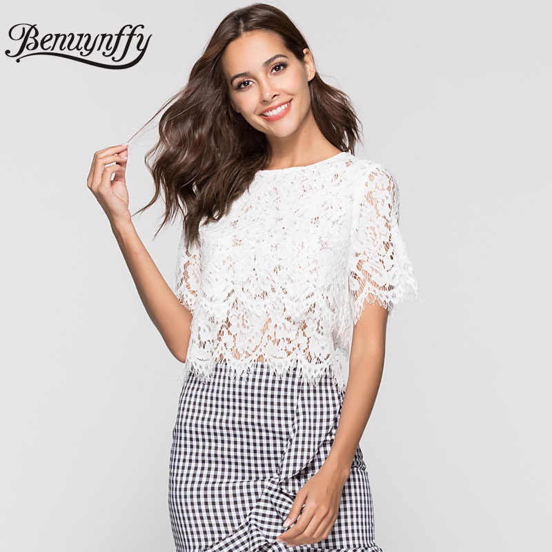 Benuynffy Hollow out White Lace Blouse Women Summer Top 2019 Ladies Elegant Sexy Black Round Neck Short Sleeve Cropped Blouses