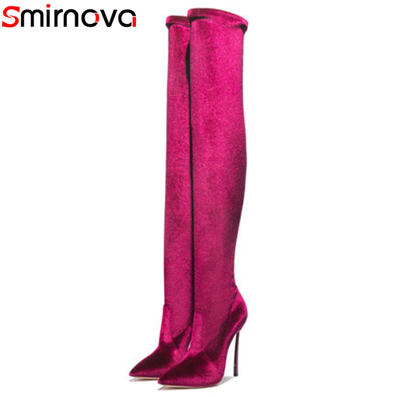 Smirnova big size 33-43 fashion pointed toe autumn winter shoes woman sexy prom over the knee boots thin heel boots women крючок fbs universal uni 005