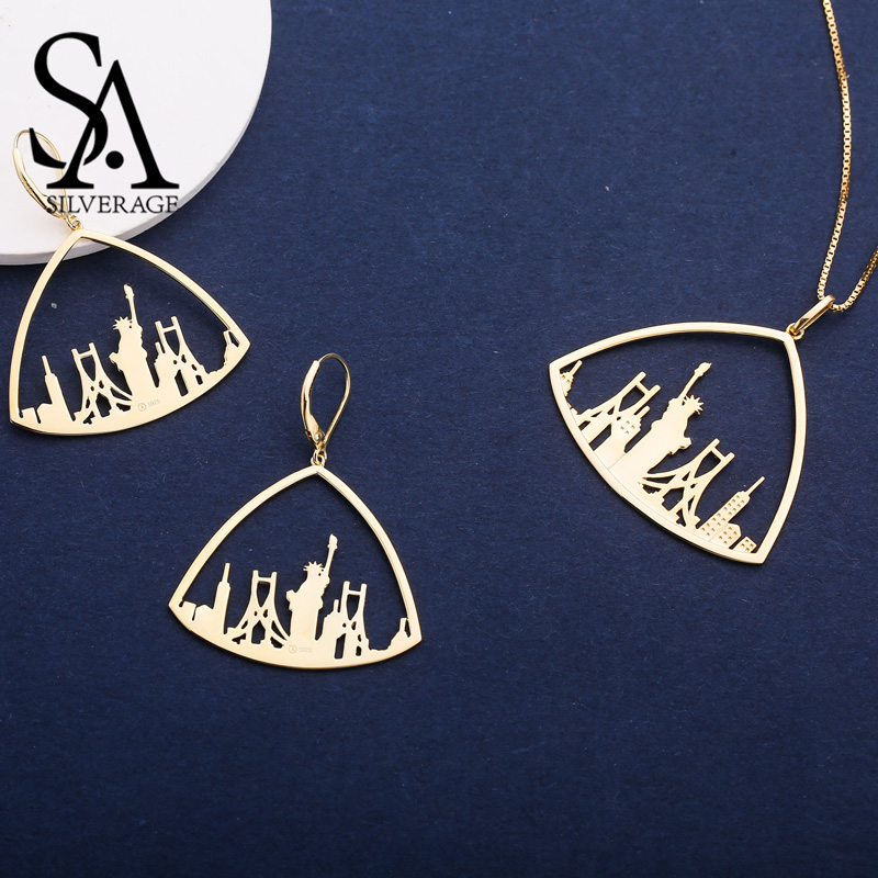 SA SILVERAGE 925 Sterling Silver Triangle Gold Color Plated Drop Earrings Pendant Necklace Jewelry Sets for