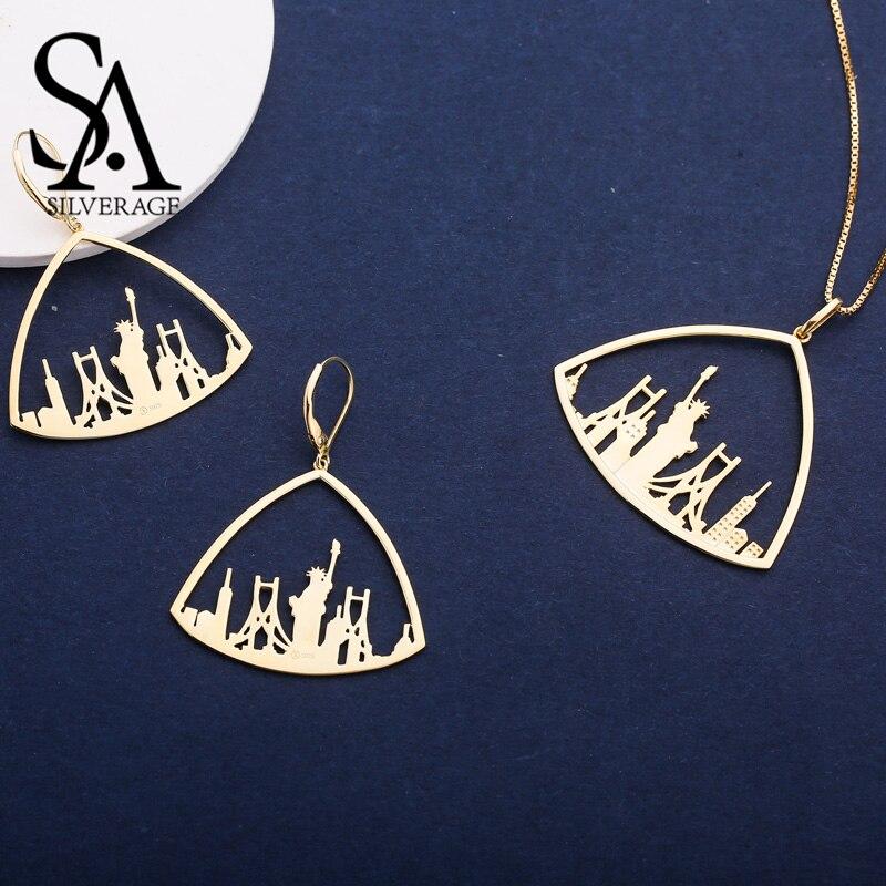 SA SILVERAGE 925 Sterling Silver trójkąt kolor złoty galwanicznie kolczyki wiszące naszyjniki z wisiorkami biżuteria zestawy dla kobiet 925 srebrny zestaw w Zestawy biżuterii od Biżuteria i akcesoria na  Grupa 1