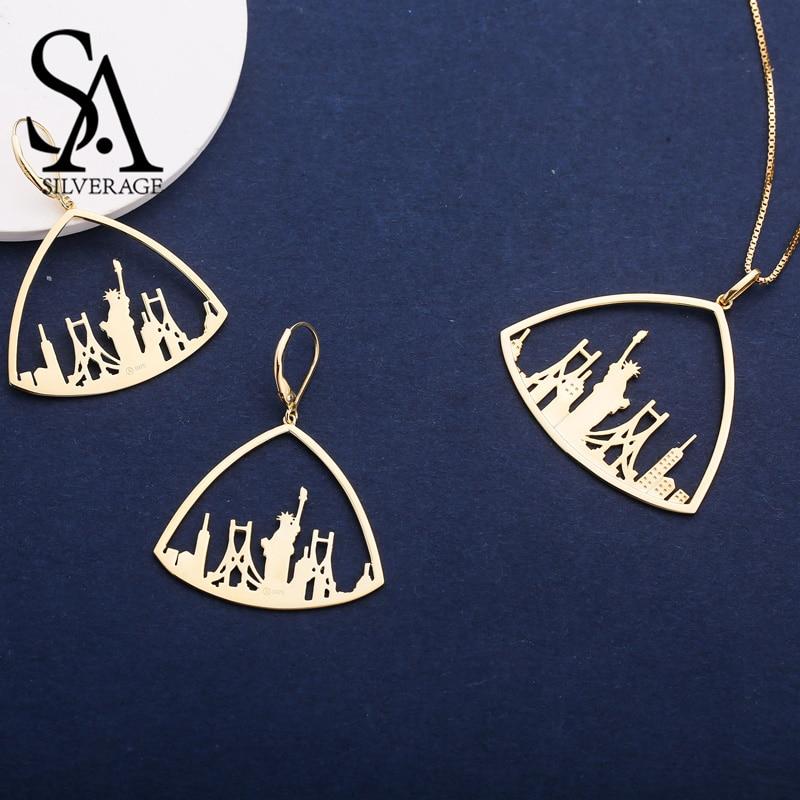 SA SILVERAGE 925 en argent Sterling Triangle couleur or plaqué boucles d'oreilles pendentif collier ensembles de bijoux pour femme 925 ensemble en argent