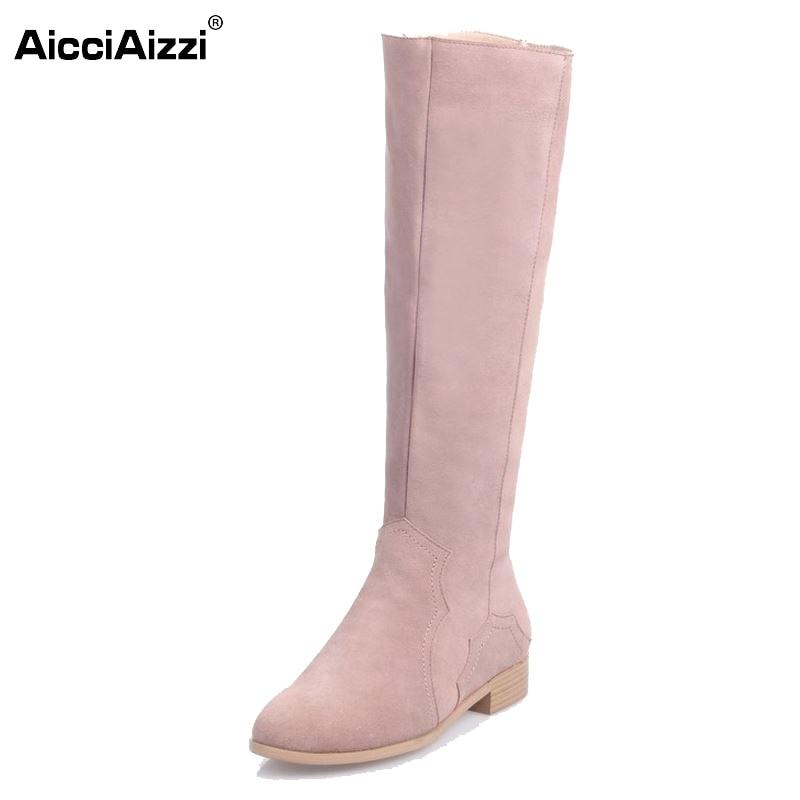 Women Real Genuine Leather Knee Boots Woman Flat Zipper Botas Feminine Winter Fur Warm Footwear Shoes Size 34-39