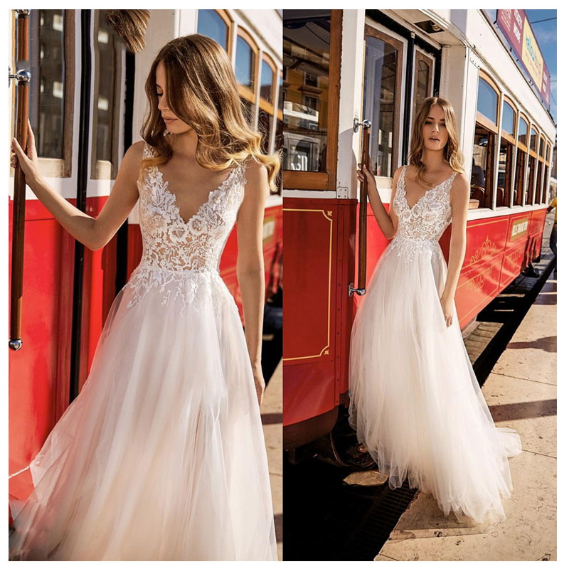 LORIE Boho Wedding Dress 2019 Appliqued V Neck Elegant Tulle A-Line Sexy Backless Beach Bride Dress  Sexy Wedding Gown