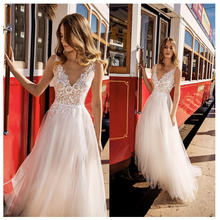 LORIE Boho Wedding Dress 2019 Appliqued V Neck Elegant Tulle A-Line Sexy Backless Beach Bride  Gown