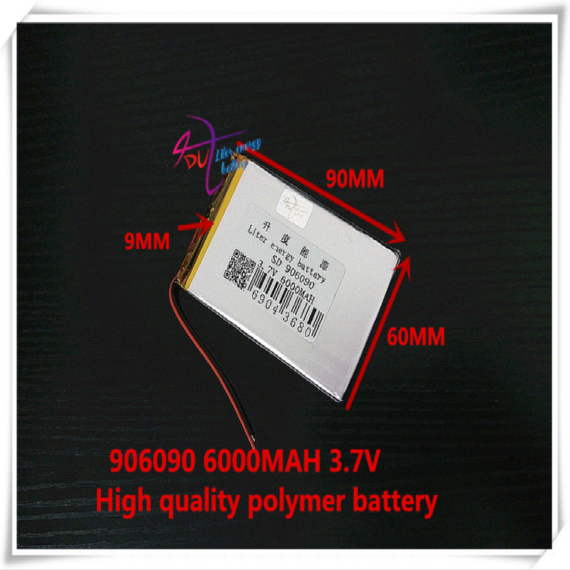 <font><b>3.7V</b></font> <font><b>6000mAH</b></font> 906090 polymer lithium ion <font><b>battery</b></font> / Li-ion <font><b>battery</b></font> for tablet pc power bank E BOOK image