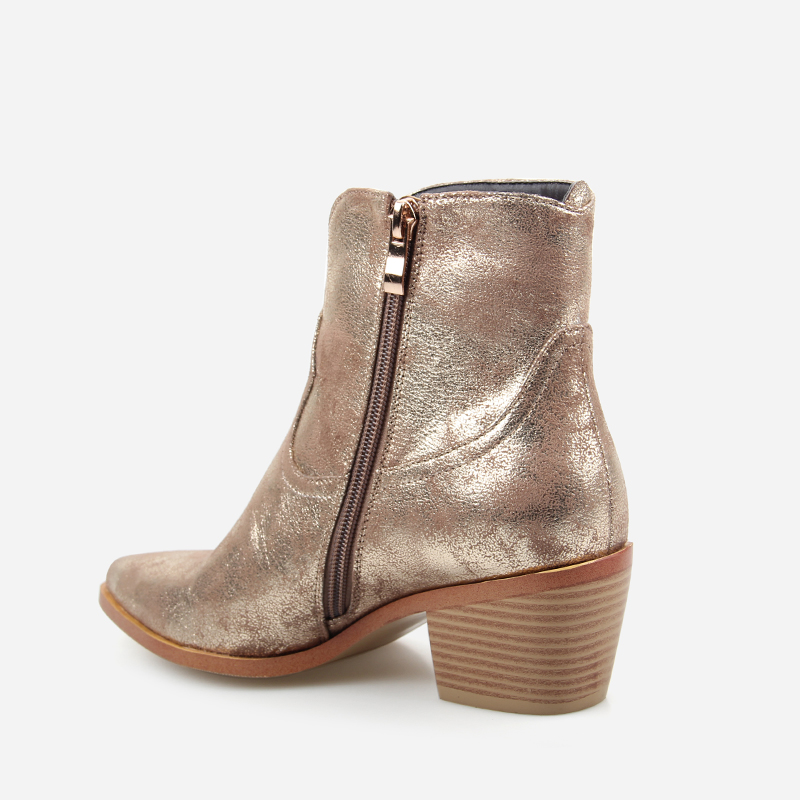 Image 4 - 2019 Spring/Autumn New Fashion Women's High heeled Retro Square heel boots Zipper Concise Pointed Toe Woman Boot Golden shoes-in Ankle Boots from Shoes