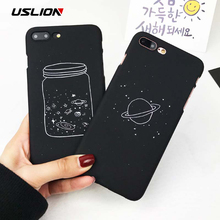 USLION Cartoon Wishing Bottle Planet Moon Phone Case For iPhone 7 6 6s 8 Plus X 5 5S SE Starry Sky Hard PC Cases Back Cover Capa