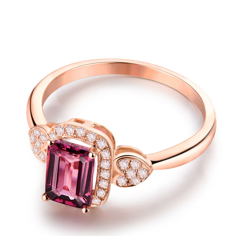 Prirodni smaragdno izrezani turmalinski vjenčani prstenovi čvrsti - Fine nakit - Foto 2