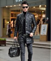 Large Size 5XL Winter Men's leather jacket coat men keep warm duck down leather jacket coat men big size down wind jacket coats