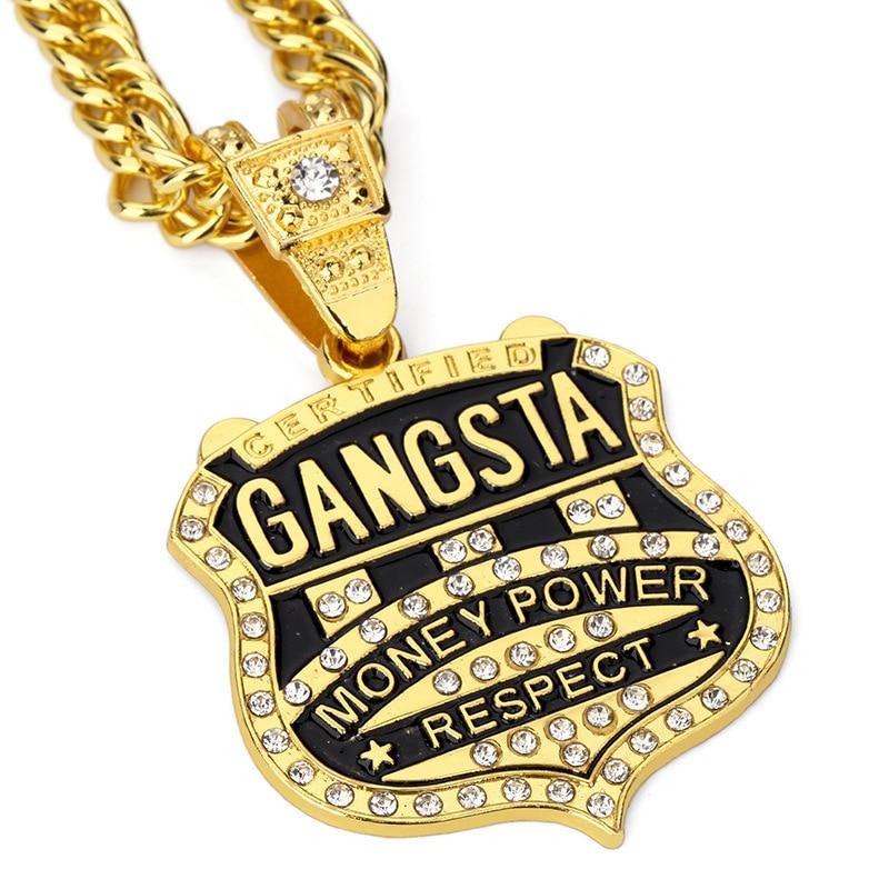 2Pcslot GANGSTA Pendant Men Necklace Hip Hop Jewelry Gold Color