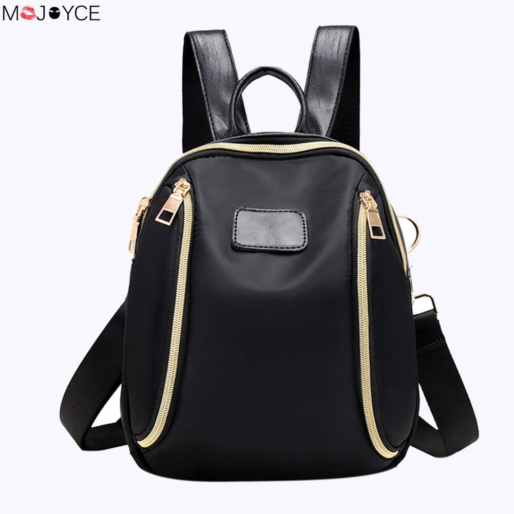 купить 2017 Multifunction Women Nylon Mini Backpack Female Casual Black Shoulder Bag Girls Simple School Bag Small Travel Rucksack по цене 509.59 рублей
