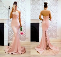 Mermaid Long Prom Dresses 2019 Vestidos de Fiesta de Noche Robe de Soiree Halter Neck Backless Lace Dress Prom