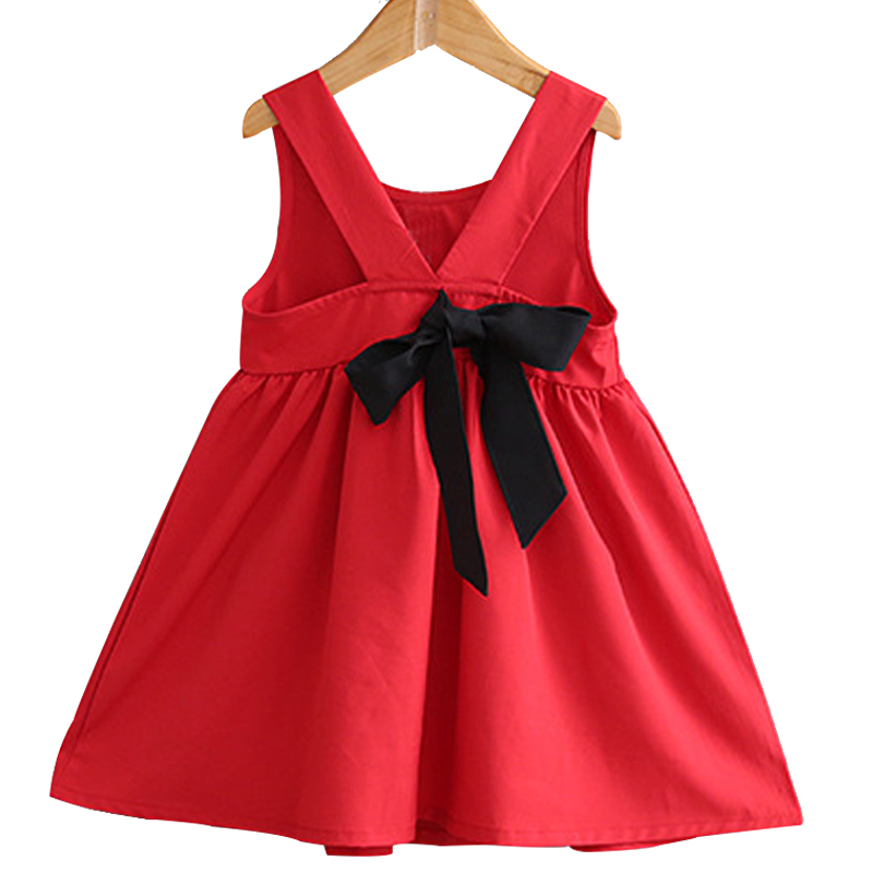 Kids Dresses For Girls Summer Sleeveless Vest Backless Big Bow Princess Costume Childrens Casual Red Clothes Baby Girl Clothin